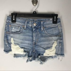 AEO shortie cut off jean shorts distressed ripped